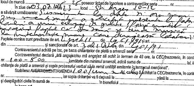 Fragmentul din procesul-verbal de contravenție în care agentul Secției 2 minte de îngheață apele