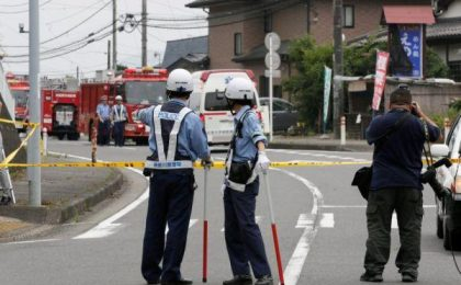 epa05440993 Japanese police establish a perimeter outside of Tsukui Yamayuri-en, a residential care facility for disabled people in Sagamihara, Kanazawa Prefecture, about 60km west of Tokyo, Japan, 26 July 2016. A man stabbed residents at the facility with a knife and killed at least 15 people and injured at least 26 in the early morning hours of 26 July. Kanagawa police arrested Satoshi Uematsu, 26, who turned himself in to a local police station, and admitted to perpetrating the attack. EPA/KIMIMASA MAYAMA