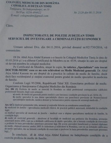 Colegiul Medicilor Timiș a expediat aceeaşi adresă către direcția de sănătate, primărie și poliție