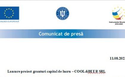 Comunicat de presă - Lansare proiect granturi capital de lucru – COOL&BEER SRL