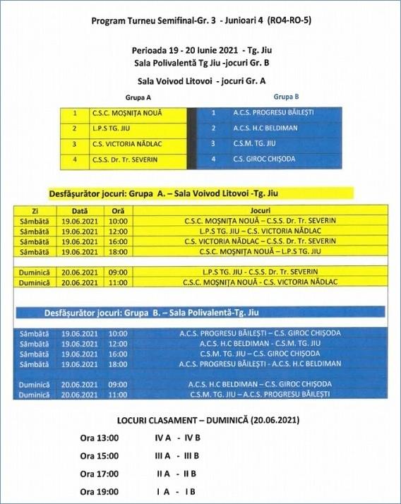 Program turneu semifinal handbal Targu Jiu Juniori 4