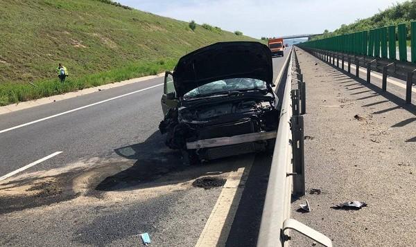 Trafic dat peste cap pe autostrada A1, în urma unui accident rutier. Foto