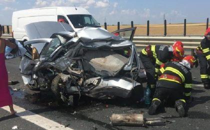 Accident mortal în apropiere de Timișoara, pe autostradă. Trafic blocat! A intervenit elicopterul SMURD. Foto