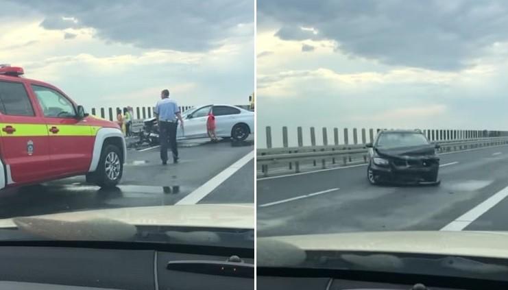 Accident cu două BMW-uri, pe Autostrada A1 Lugoj - Timișoara. Trafic dat peste cap