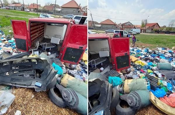 36.000 de lei amendă și confiscarea mașinii unui individ care a abandonat deșeuri pe domeniul public, la Timișoara