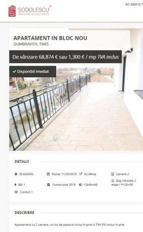 Unul dintre anunțurile postate în 20 noiembrie pe site-ul agenției imobiliare și retrase ulterior