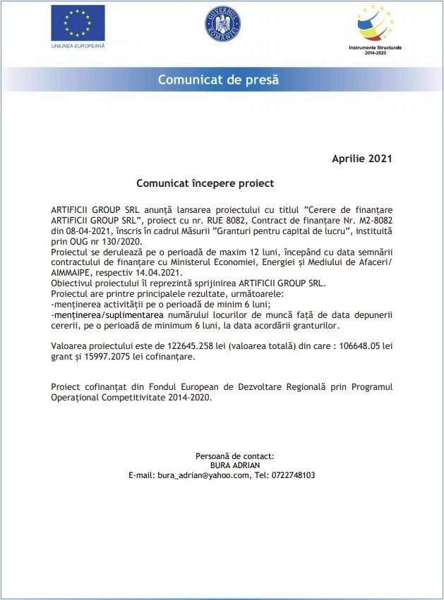 Comunicat începere proiect - aprilie 2021 - Artificii Group SRL