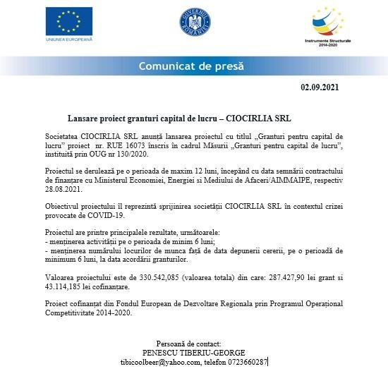 Comunicat de presă - Lansare proiect granturi capital de lucru - CIOCIRLIA SRL