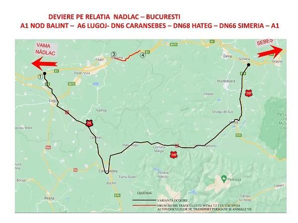 Restricţii pe DN 68A Margina - Coșava pentru traficul greu. Traseu deviat (hărţi)