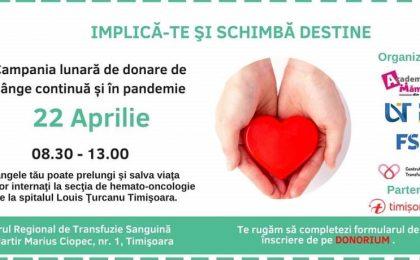 """Academia Mămicilor din Timişoara organizează o campanie de donare de sânge pentru copiii internaţi la Secţia de Hemato-Oncologie a Spitalului """"Louis Ţurcanu"""" din Timişoara"""