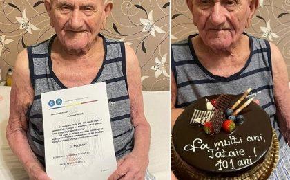 Veteran de război, sărbătorit la Chişoda la împlinirea a 101 ani