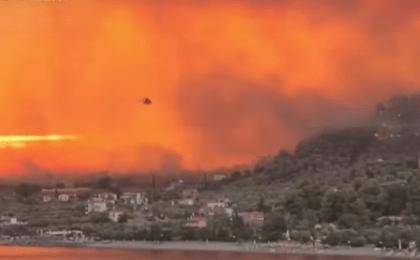 Imagini apocaliptice în Grecia - Insula Evia este în flăcări (video)