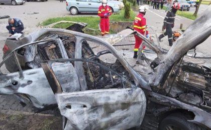 Video! Poliția Română vine cu noi detalii în cazul mașinii care a explodat în Arad, cu un afacerist în ea