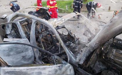 Video: Momentul în care mașina omului de afaceri din Arad explodează în mers