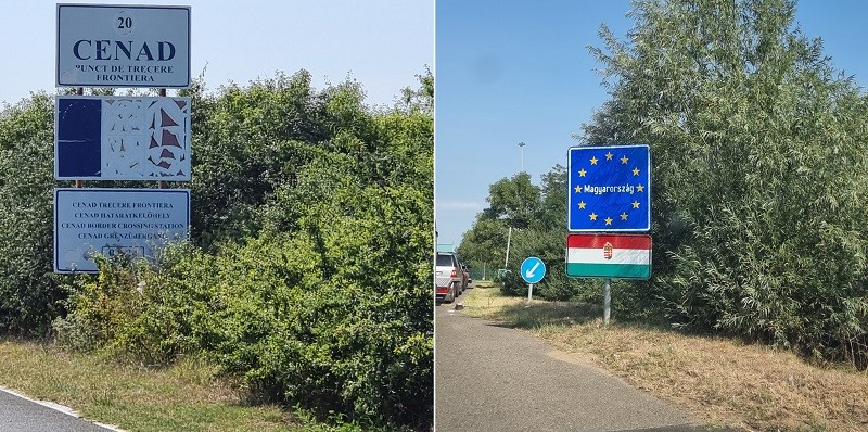 Contraste la frontieră: noi, cu tricolorul șters și ascuns printre bălării, ungurii cu un panou de prezentare impecabil