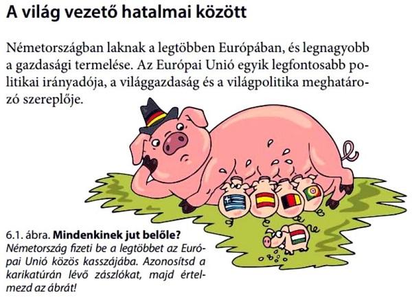 Caricaturi politice într-un manual școlar din Ungaria: Transilvania este casa maghiarilor, Germania este o scroafă care hrănește mai