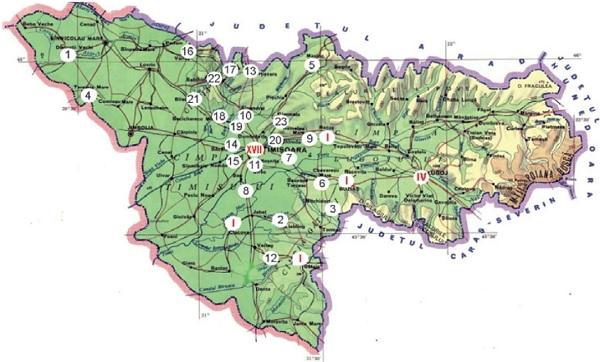 Mediul rural: 1. Dudeștii Vechi, 2. Liebling, 3. Nițchidorf, 4. Teremia Mare, 5. Mașloc, 6. Chevereșu Mare, 7. Moșnița Nouă, 8. Parța, 9. Remetea Mare, 10. Sânandrei, 11. Chișoda-Giroc, 12. Birda, 13. Orțisoara, 14. Săcălaz, 15. Utvin-Sânmihaiu Român, 16. Gelu-Variaș, 17. Bărăteaz-Satchinez, 18. Bechicherecu Mic, 19. Dudeștii Noi, 20. Ghiroda, 21. Biled, 22. Satchinez, 23. Giarmata. Mediul urban: 17 centre de permanență în Timișoara, patru în Lugoj, câte unul în Ciacova, Gătaia, Recaș și Buziaș