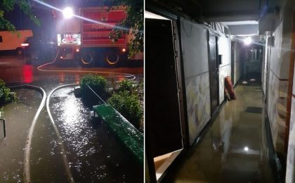 Inundații în Timiș: parterul unui bloc, 12 subsoluri, dar și o stradă de 800 de metri