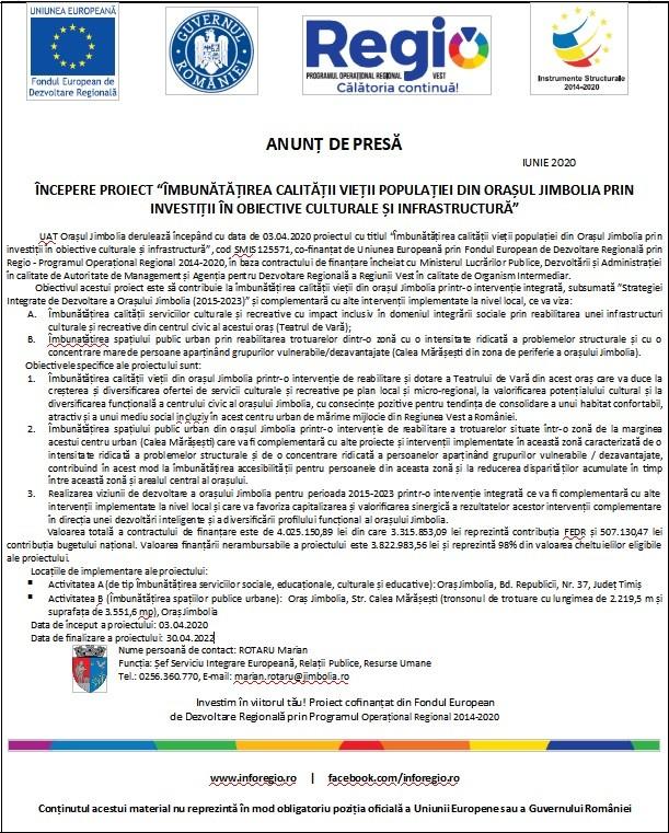 """Anunţ de presă – iunie 2020 – Începere proiect """"Îmbunătăţirea calităţii vieţii populaţiei din oraşul Jimbolia prin investiţii în obiective culturale şi infrastructură"""""""