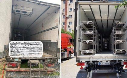 Morții de Covid ai Timișoarei zac într-o remorcă privată de camion fără aviz DSP, în loc să fie păstrați civilizat într-o morgă mobilă a statului român