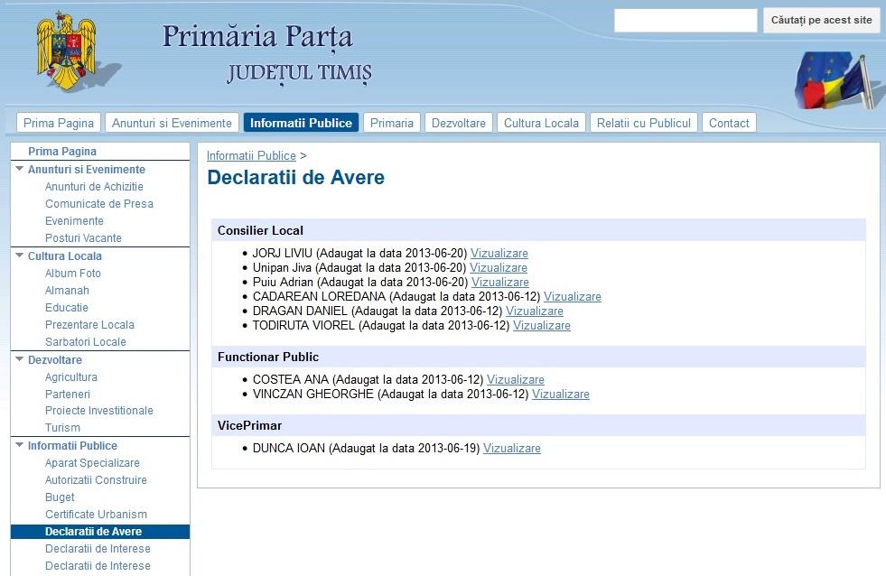 """Secțiunea """"Declarații de avere"""" de pe site-ul Primăriei Parța a încremenit în timp: nouă declarații din 2013, niciuna a primarului"""