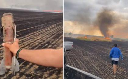 Cultura de grâu a unui fermier timişean, distrusă după un incendiu provocat, se pare, de o rachetă antigrindină. Video