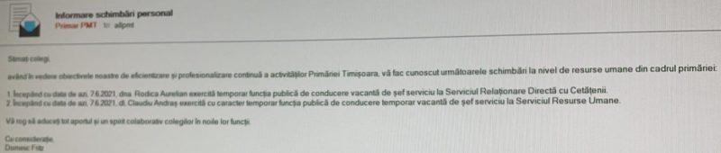 Șoc la Primăria Timișoara: Rodica Aurelian, debarcată de la șefia Resurselor umane!