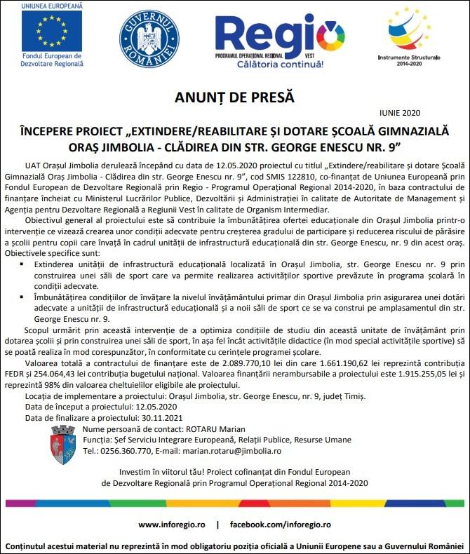 """Anunţ de presă - iunie 2020 - Începere proiect """"Extindere/reabilitare şi dotare Şcoala Gimnazială Oraş Jimbolia - Clădirea din Str. George Enescu nr. 9"""""""