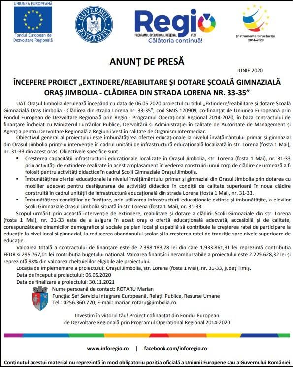 """Anunţ de presă - iunie 2020 - Începere proiect """"Extindere/reabilitare şi dotare Şcoală Gimnazială Oraş Jimbolia - clădirea din strada Lorena nr. 33-35"""""""